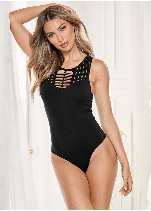 e226fc16fb Black SEAMLESS CROCHET BODYSUIT from VENUS