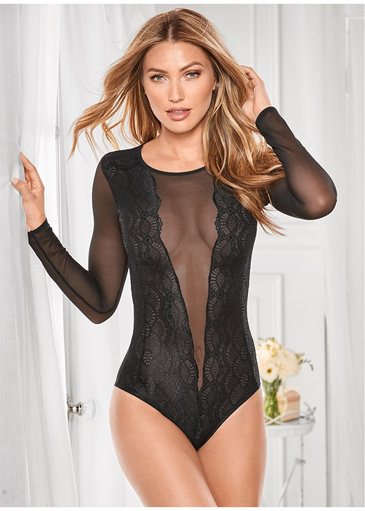 26c5e12ac Black LACE AND MESH BODYSUIT from VENUS