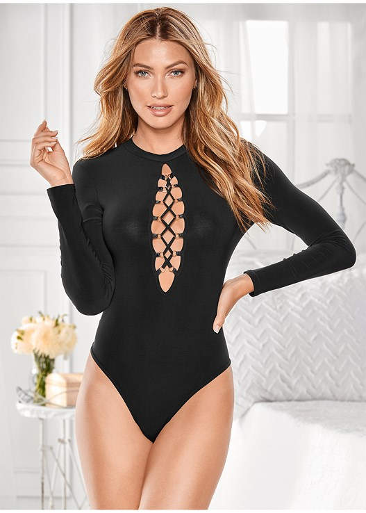 LONG SLEEVE LACEUP BODYSUIT