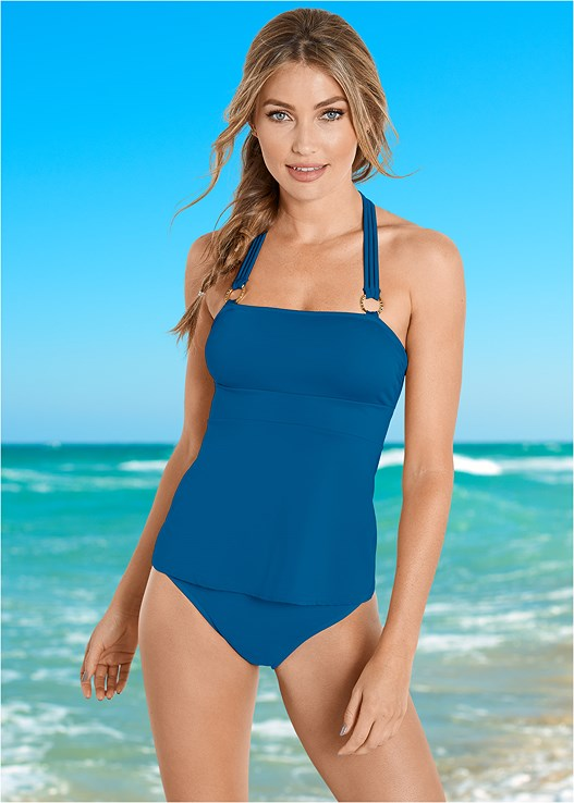 HIGH WAIST MODERATE BOTTOM,STRAPPY HALTER TANKINI TOP,HIGH WAIST FULL CUT BOTTOM