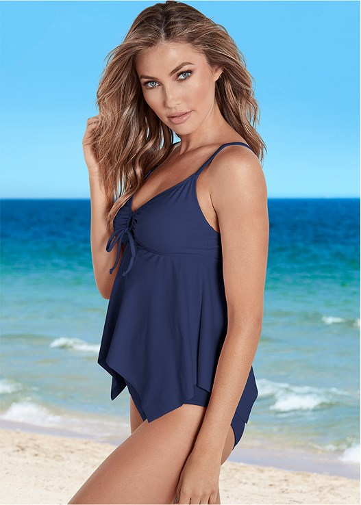SHARKBITE HEM TANKINI,HIGH WAIST MODERATE BOTTOM,HIGH WAIST FULL CUT BOTTOM
