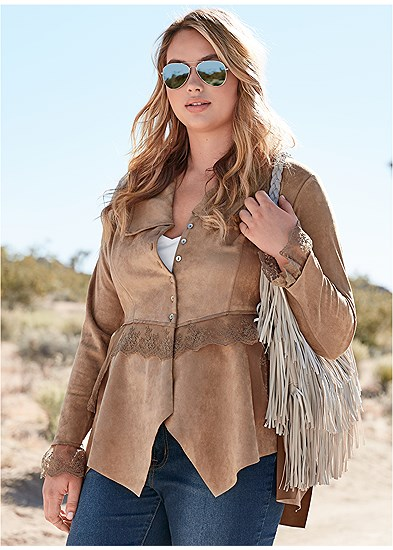 Plus Size Faux Suede And Lace Jacket