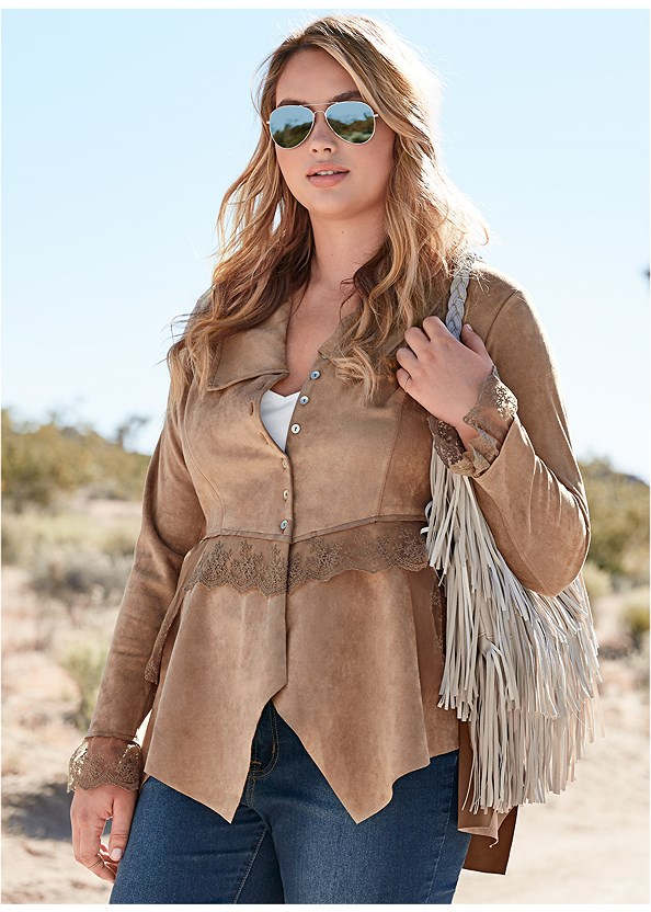 Faux Suede And Lace Jacket,Long And Lean V-Neck Tee,Mid Rise Color Skinny Jeans