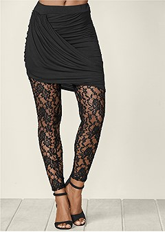 mini skirt lace leggings