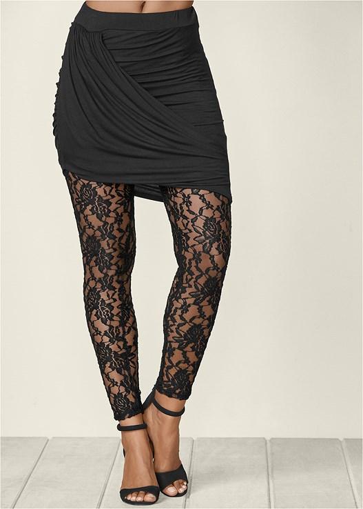 Brand-new Mini Skirt Lace Leggings in Black   VENUS JE05