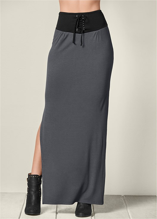 CORSET WAISTBAND MAXI SKIRT,SEAMLESS CAMI,WRAP STITCH DETAIL BOOTIES