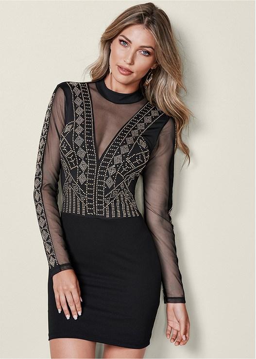 EMBELLISHED BODYCON DRESS in Black Multi  ad0c36f59ddb