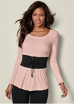 corset waist ribbed top
