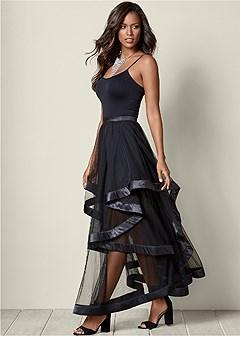 high low layered long skirt