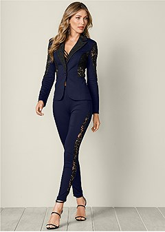 lace inset pant suit set
