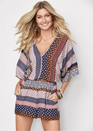 Front view Mixed Print Romper