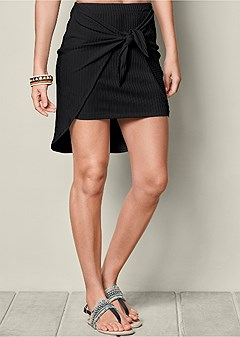ribbed knot detail skirt