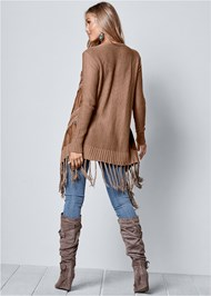 Back View Faux Suede Fringe Cardigan