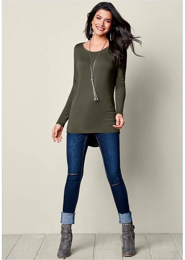 Full front view Button Back Scoop Neck Top