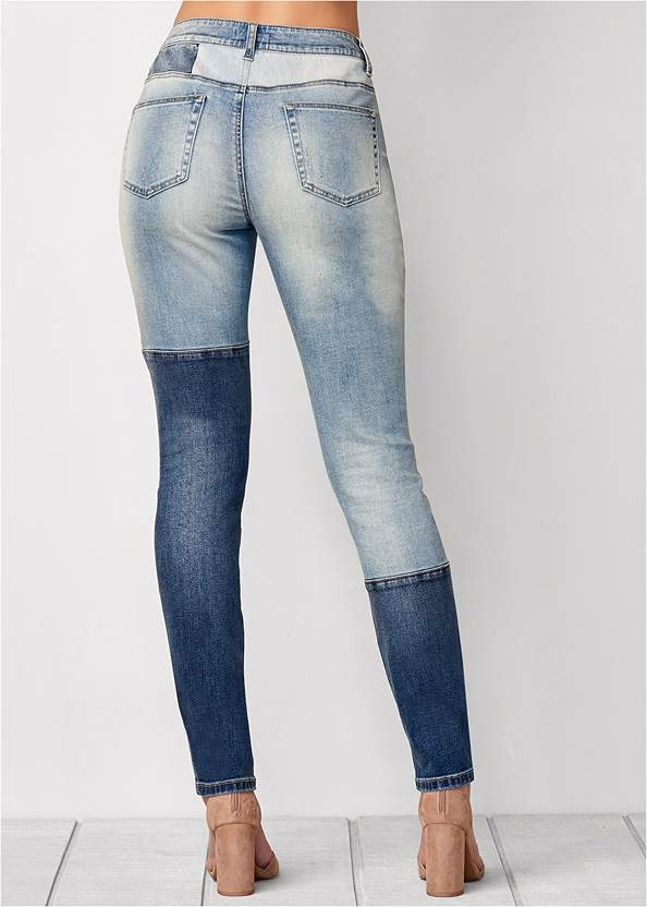 Back View Distressed Patchwork Jeans