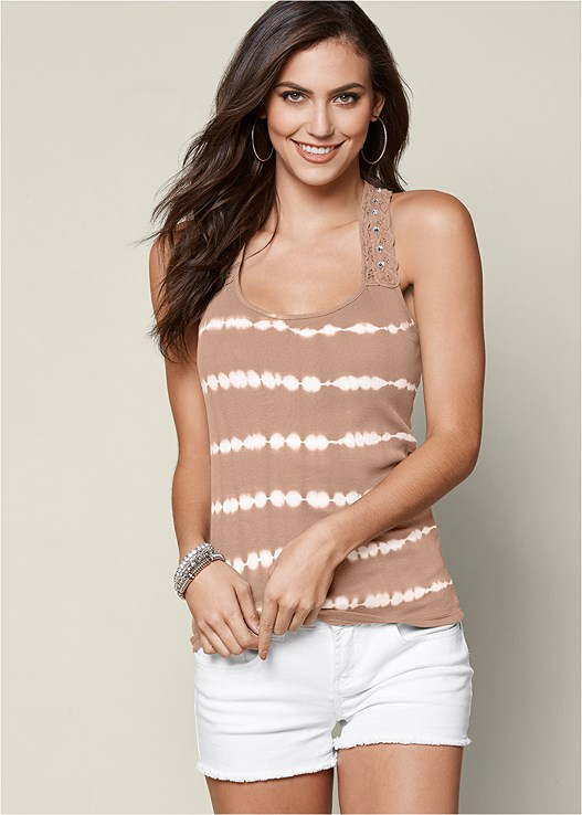 SPARKLING CROCHET TANK TOP,CUT OFF JEAN SHORTS