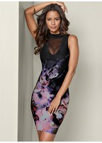 mesh detail floral dress
