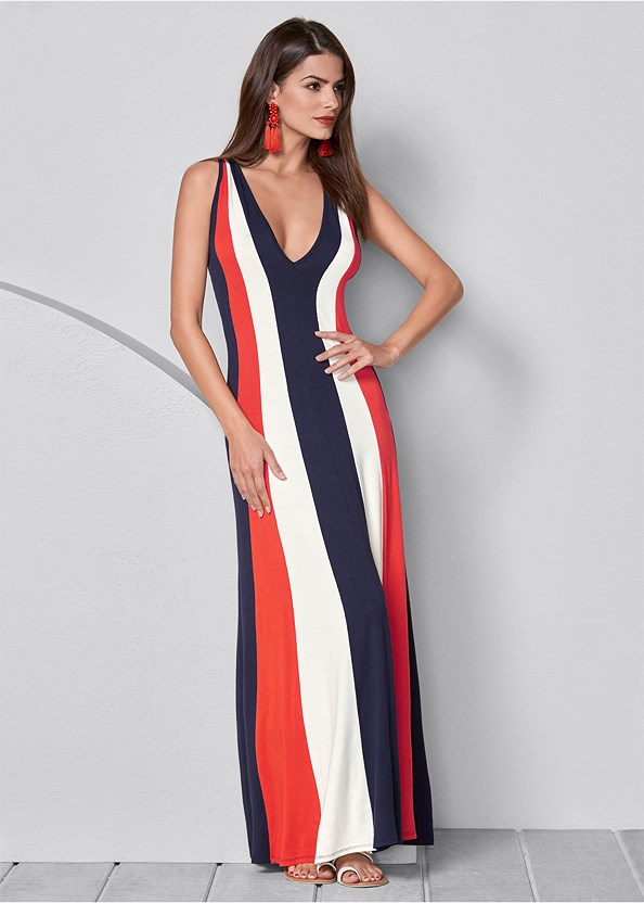 Color Block Maxi Dress,Tassel Earrings,Circle Detail Handbag