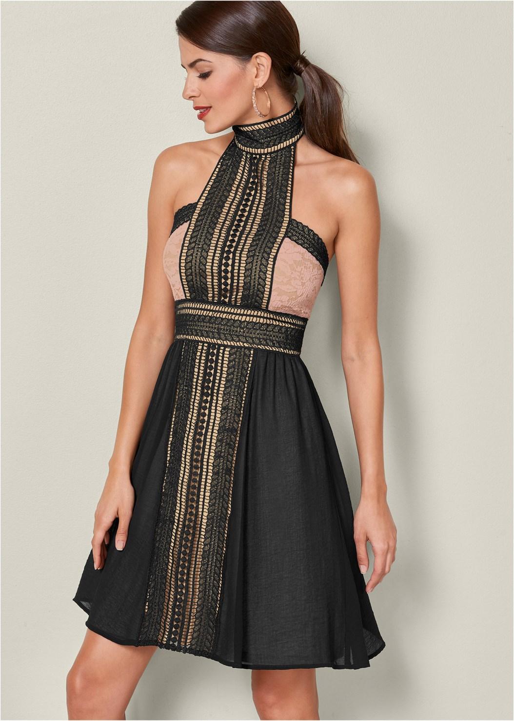 High Neck Lace Detail Dress,Natural Beauty Lace Bandeau