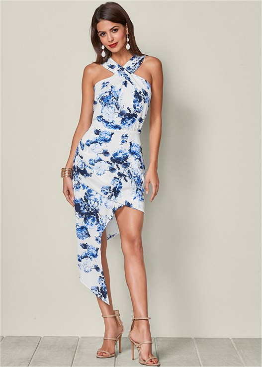 CROSS FRONT FLORAL DRESS,HIGH HEEL STRAPPY SANDAL
