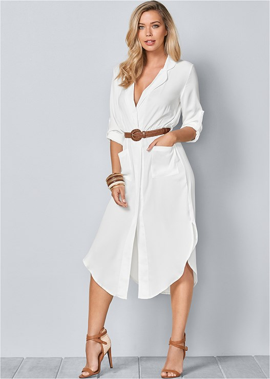 BELTED MIDI SHIRT DRESS,RAFFIA DETAIL HEEL,CUPID U PLUNGE BRA,BEADED TASSEL EARRINGS