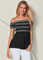stripe smocked babydoll top