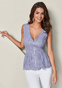 zip up sleeveless lace top