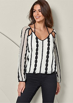 embroidered mesh v-neck top