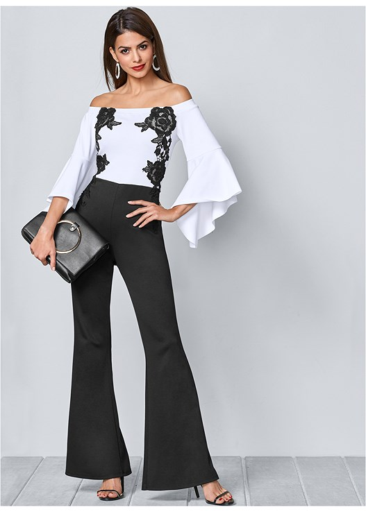 OFF THE SHOULDER JUMPSUIT,HIGH HEEL STRAPPY SANDALS,CIRCLE DETAIL CROSSBODY,FULL FIGURE STRAPLESS BRA