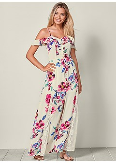 dcfb8b8c96 cold shoulder maxi dress