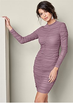 ruched mock neck dress