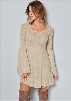 boho sweater dress