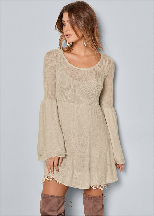 BOHO SWEATER DRESS,OVER THE KNEE STRETCH BOOT,BEADED DROP EARRINGS