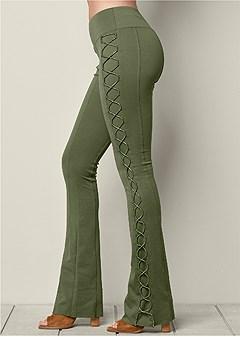 lace up boot cut pants