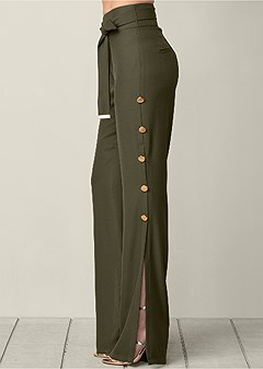 button detail wide pants