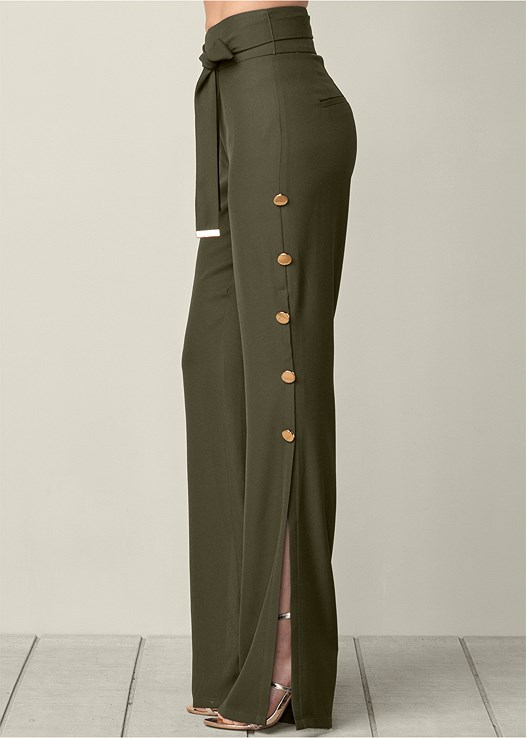 BUTTON DETAIL WIDE PANTS,BUCKLE DETAIL STRAPPY HEEL
