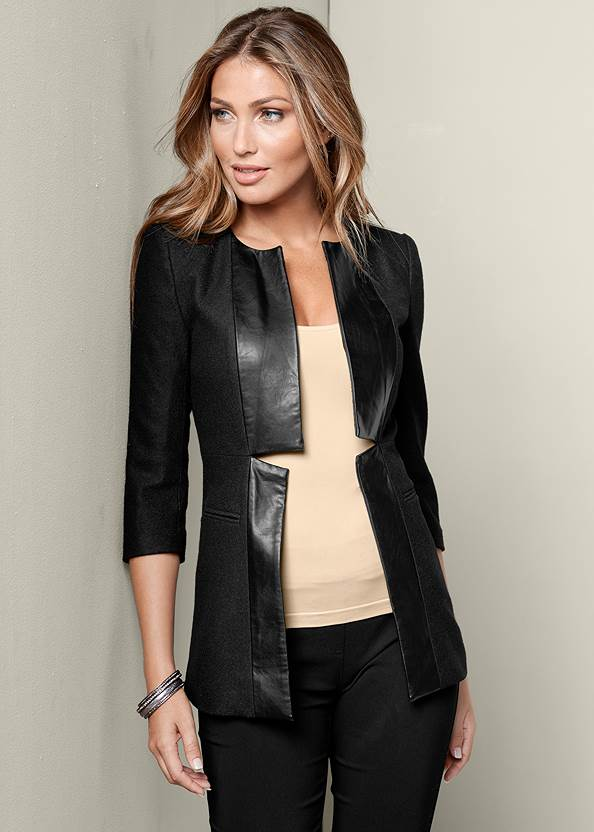 Faux Leather Trim Jacket,Mid Rise Slimming Stretch Jeggings