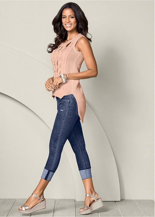 DEEP CUFF JEANS,CUT OUT DETAIL SLEEVELESS SWEATER,ESPADRILLE PLATFORM WEDGES,LACE BACK HIPSTER PANTIES