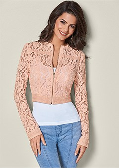 lace crop jacket