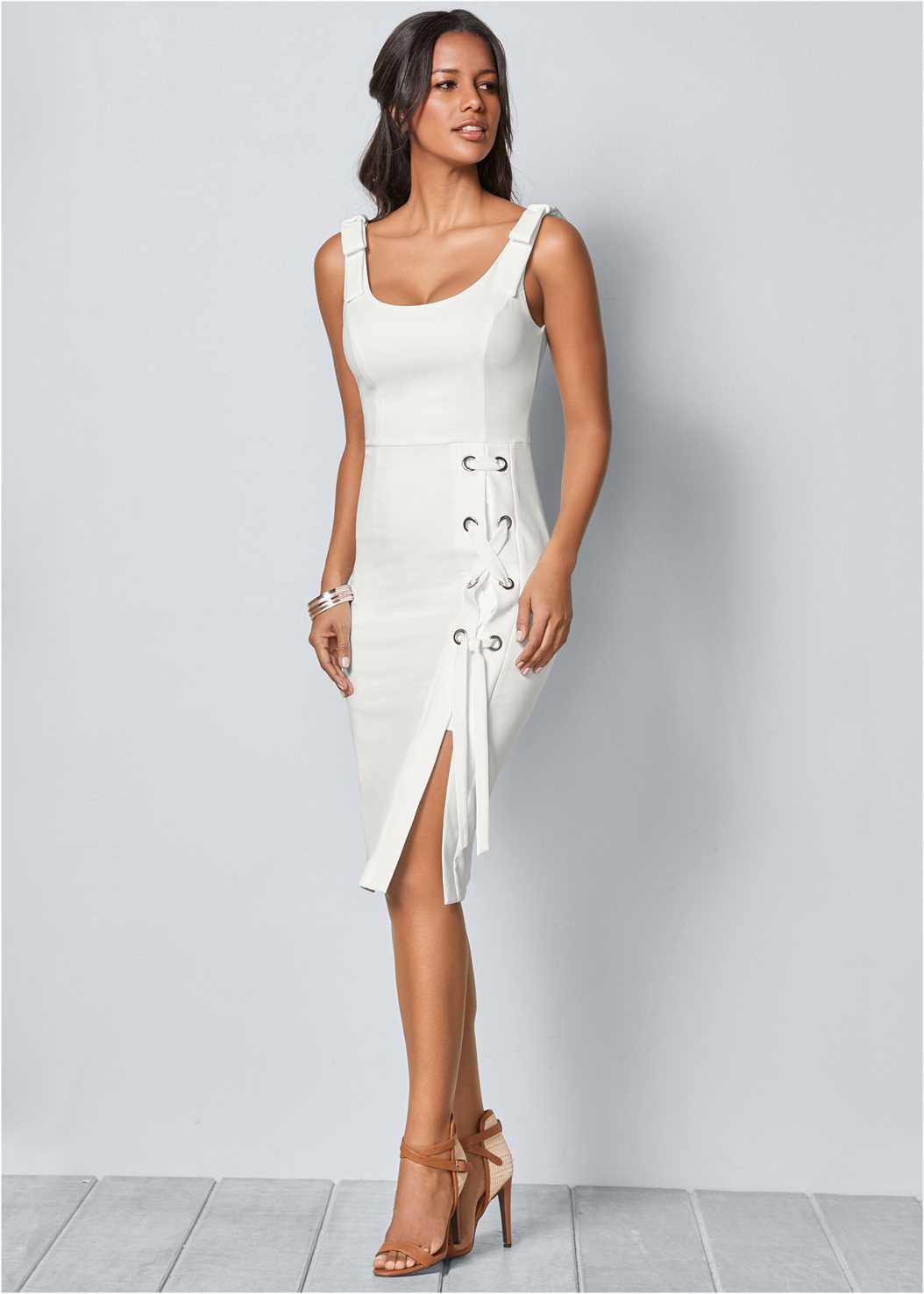 Lace Up Detail Sleeveless Dress