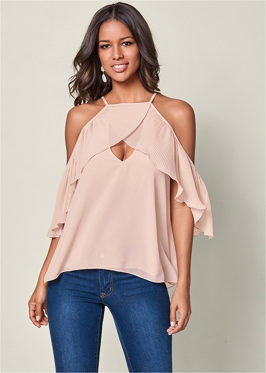 PLEATED COLD SHOULDER TOP,COLOR SKINNY JEANS