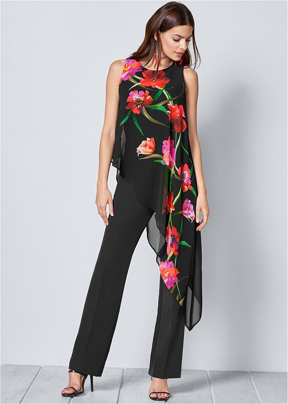 Chiffon Overlay Jumpsuit,High Heel Strappy Sandals
