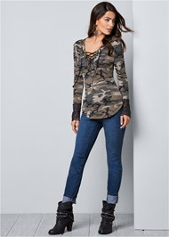 Front View Lace Detail Camo Top
