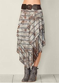 belted layered midi skirt
