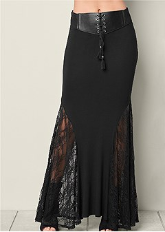 belted lace inset maxi