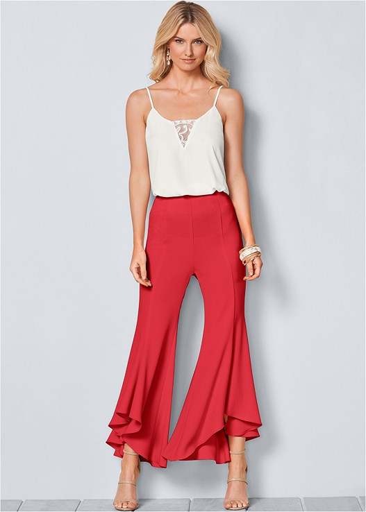 RUFFLE HEM PANTS,LACE INSET SLEEVELESS TOP,HIGH HEEL STRAPPY SANDALS