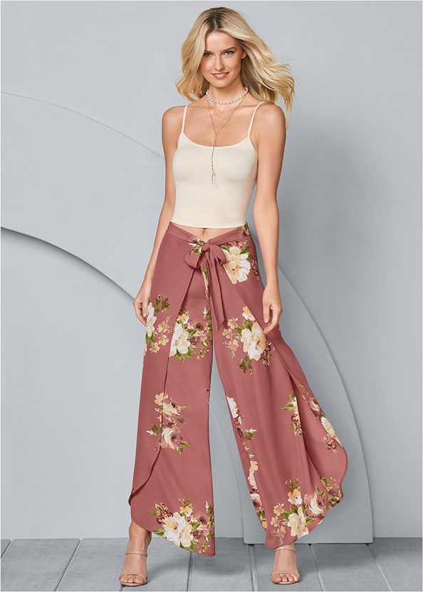Floral Open Leg Pants,High Heel Strappy Sandals