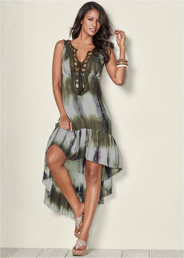 Tie Dye Lace Up Dress,Embellished Wedges