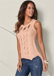 Cut Out Detail Sleeveless Sweater