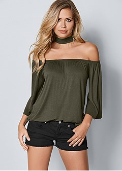 choker off the shoulder top